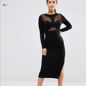 ASOS Petite Contour Mesh Bodycon Midi Dress